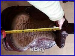 16 Western Saddle, Tooled Leather