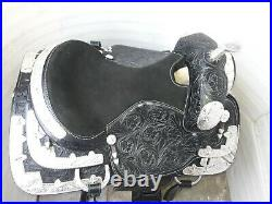 16'' black leather new western show saddle pleasure style with silver corner