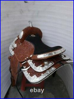 16'' western fully show saddle with silver corner canchos & saddle pad