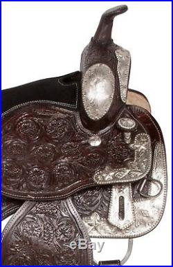 17 18 Leather Western Parade Show Pleasure Trail Horse Saddle Lots Silver New