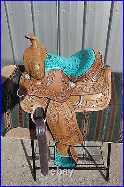 31-12 New 10 Frontier TURQUOISE cutout filigree saddle gator pattern NICE