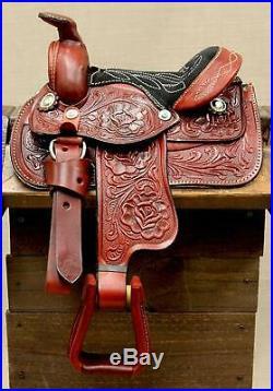 8 Burgundy Western Toddler Saddle Leather Miniature Trail Saddle Mini Horse