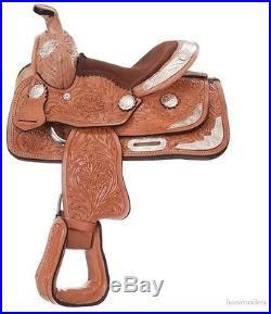 8 Inch Miniature Horse Western Tooled Show Saddle Light Oil Leather