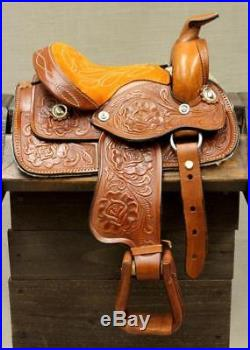 8 Tan Western Toddler Saddle Leather Miniature Trail Saddle Mini Horse