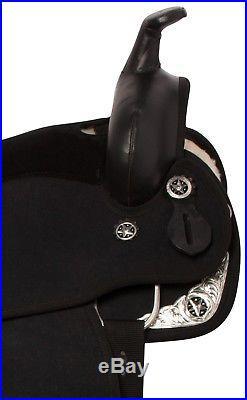 Amazing Black Synthetic Western Pleasure Horse Saddle Tack Seat Size 15 16
