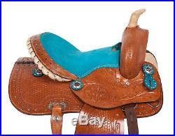 Blue Crystal Leather Western Horse Kids Youth Barrel Racing Saddle Tack Set New