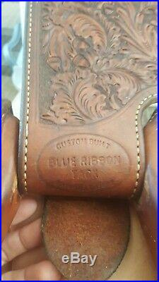 Blue Ribbon 15.5 western show saddle with silver