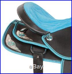 Blue Western Pleasure Trail Barrel Racing Horse Saddle Tack Set 15 16 17 18