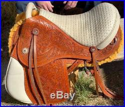 Brazilian leather saddle 16 on eco leather buffalo on color chestnut