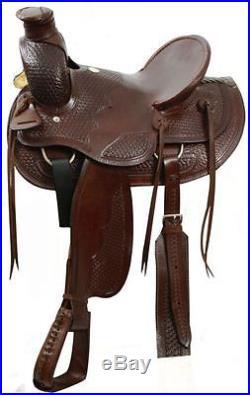 Buffalo Wade Style SQHB Basketweave Tooled 16 SADDLE Rawhide Cantle & Horn