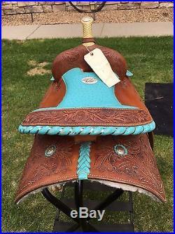 California Saddlery 14 Barrel Saddle with Blue Seat