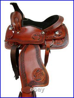 Comfy Trail Western Pleasure Horse Saddle 15 16 Floral Tooled Leather Tack Set