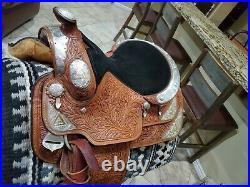 Dale Chavez Western Show Saddle, Lots of Silver, 16 Seat, Full QH, 30 Skirt