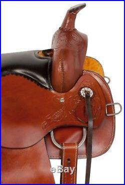 Deep Seat Comfy Western Pleasure Trail Horse Leather Saddle Tack Set 15