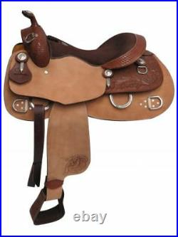 Double T 16 TRAINING SADDLE Rough Out Fenders Floral & Basketweave Tooling