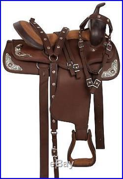 Beautiful Gaited Western Pleasure Trail Leather Horse Saddle Tack 15 17 in