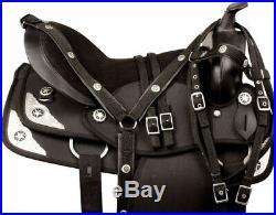 Gaited 16 17 18 Black Silver Light Western Trail Horse Saddle Tack Set