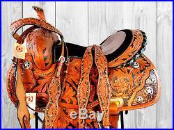 Gaited Barrel Saddle Trail Pleasure Tooled Leather Western Horse Tack 15 16