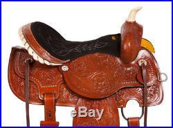 Gaited Western Barrel Pleasure Trail Show Horse Leather Saddle Tack Set 14 15