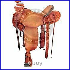 Genuine Leather Western A Fork Wade Tree Roping Ranch Horse Saddle Size 14 to18