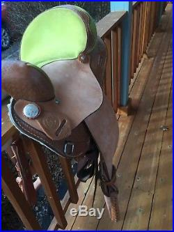 H&H Saddlery Green and Brown 15 Western Barrel Saddle, 7 gullet Barely used