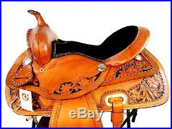Hand Made Western Barrel Saddle Tooled Trail Pleasure Horse Tack Set 14 15 16