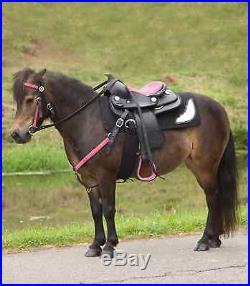 Komplett-Set Pony-Westernsattel THINK PINK + Zaum u Vorderzeug pink, Strass NEU