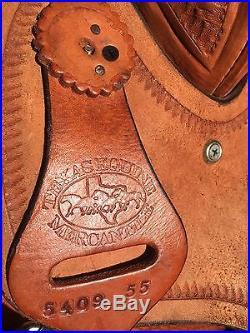 Lightly used 15 inch barrel racing saddle