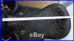 Long reach endurance saddle 17 leather buffalo black harnis drum dye finished