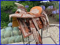 Mexican Charro Horse Saddle Leather Montura Charra bordada Fuste 15 Embroidered
