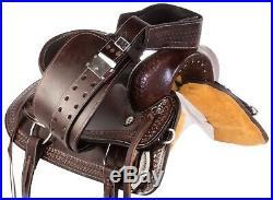 Mule 15 16 17 18 Western Pleasure Trail Horse Leather Saddle Tack Set Tooled
