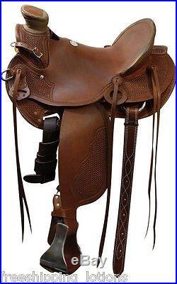 New 15 16 17 Showman Wade Tree Roping Saddle Full Qh Bars 5501