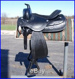 New 16 BLACK draft horse western saddle 10 gullet by Frontier -THE BEST
