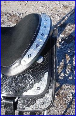 New 17 BLACK draft horse western show saddle 10 gullet by Frontier -THE BEST