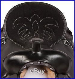 New Beautiful Black Tooled Leather Horse Saddle Gaited Tack Set 16 17 18