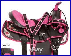 New Pink 16 Western Barrel Saddle Pleasure Trail Show Horse Tack Pink Cordura