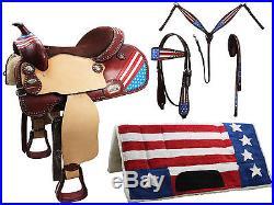 Patriotic American Flag 5 Item Leather Horse Western Saddle Set Retails $600 16