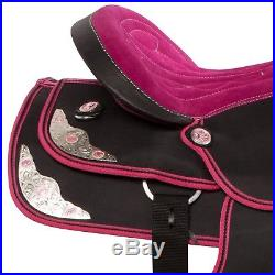 Pink Western Pleasure Trail Synthetic Horse Saddle Tack Set Pad 14 15 16 17