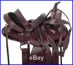 Plum Round Skirt Leather Western Pleasure Trail Horse Saddle Tack Set New 15 16