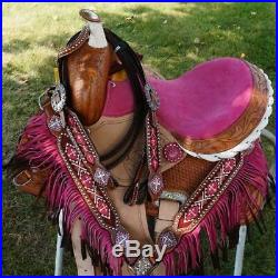Popular Youth Trail Barrel 12 Pink Saddle Showman Horse Headstall Bp Fringe SET