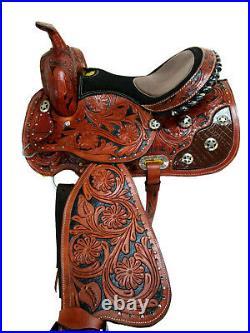Premium Tooled Leather Western Horse Saddle Racing Barrel Pleasure Trail 15 16