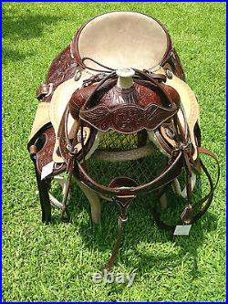 Premium quality Brown Leather Western Saddle with Headstall &Breastcollar set