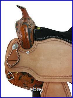 Pro Western Barrel Saddle 15 16 17 Racing Horse Pleasure Tooled Leather Tack Set