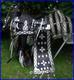RARE Vintage SIMCO Ted Flowers Parade Saddle Set 15 SILVER Accents WOW
