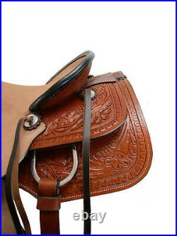 Ranch Roping Western Saddle Tooled Horse Pleasure Rough Out Leather 15 16 17