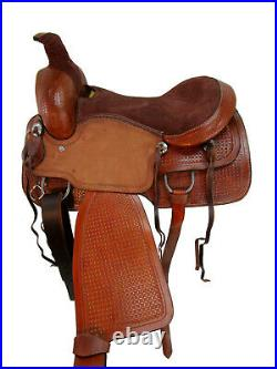 Rodeo Western Ranch Saddle Roping Horse Pleasure Tooled Leather Tack 15 16 17