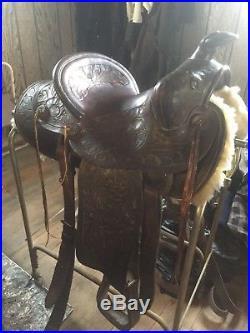 Saddle, Ranch, Western, Carl Carlock, Arizona, Brown, Slick Seat, Vintage