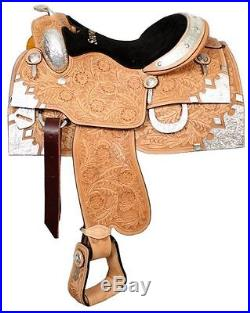 Showman Floral Tooled Show Saddle with Silver Horn 16 Full QH Bars NEW
