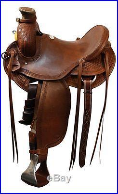 Showman ROPING SADDLE Basket Weave Tooled Leather WADE Old Timer FQHB & WARRANTY