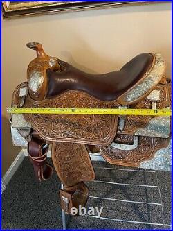 Sterling Silver Elite Custom WESTERN saddle FQHB Equitation 16 Show set